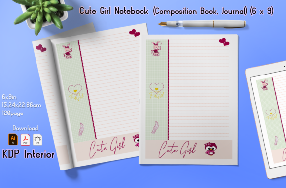 Print on Demand: Cute Gir Lined Notebook Graphic KDP Interiors By MahMah Design