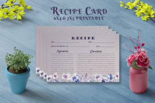 Print on Demand: Dark Floral Recipe Card Template V26 Graphic Print Templates By Creative Tacos