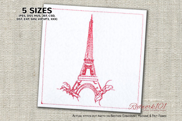 Eiffel Tower in Paris, France Lineart Europe Embroidery Design By Redwork101