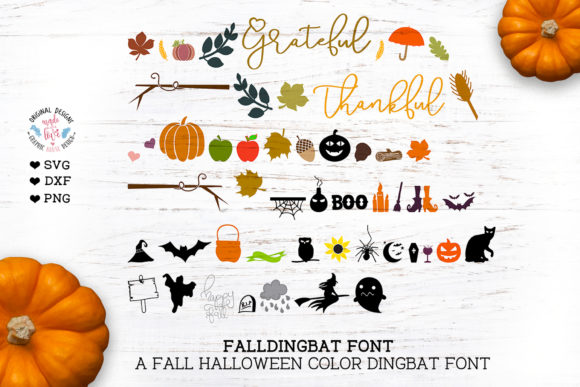 Print on Demand: Fall Halloween Dingbats Font By GraphicHouseDesign