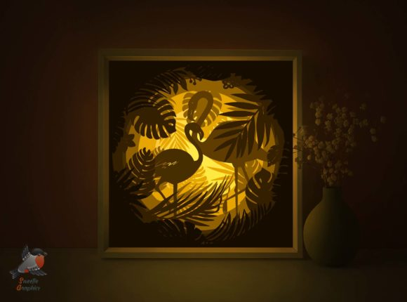 Flamingo Tropical 3D Shadow Box Template Graphic 3D Shadow Box By SweetieGraphics