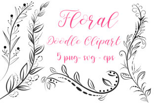 Print on Demand: Floral Doodle Clipart Graphic Crafts By PinkPearly