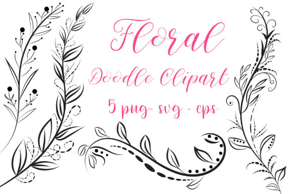 Floral Doodle Clipart Graphic Crafts By PinkPearly