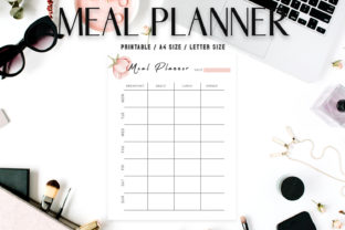 Print on Demand: Floral Meal Planner Template V2 Graphic Print Templates By Creative Tacos