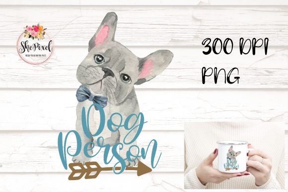Print on Demand: French Bulldog Clipart, Teal Dog Person Graphic Illustrations By Sublimation Hut