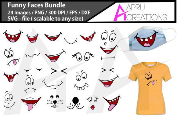 Print on Demand: Funny Faces Bundle Graphic Crafts By aparnastjp