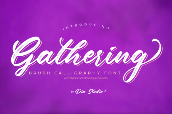 Print on Demand: Gathering Script & Handwritten Font By Din Studio