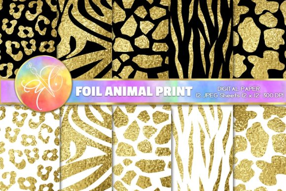 Gold Foil Animal Print Digital Paper Graphic Backgrounds By paperart.bymc