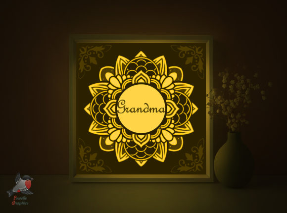 Grandma Gift Shadow Box Template Graphic 3D Shadow Box By SweetieGraphics