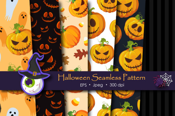 Print on Demand: Halloween Pumpkins Pattern Graphic Patterns By jannta