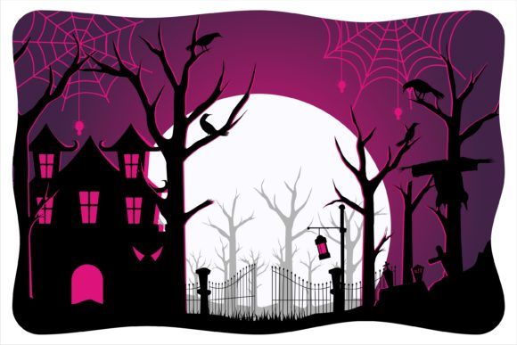 Print on Demand: Halloween Dark Scary Castille Graphic Illustrations By edywiyonopp