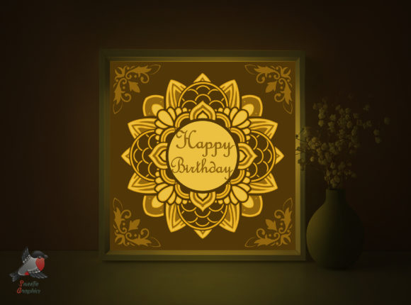 Happy Birthday Gift Shadow Box Template Graphic 3D Shadow Box By SweetieGraphics
