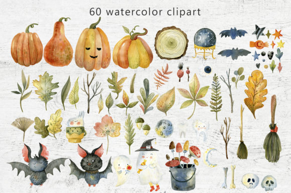 Magical Halloween Watercolor Graphic Download
