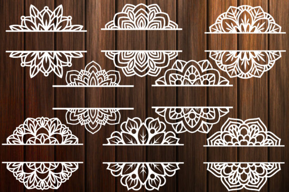 Print on Demand: Mandala Split Monogram Frame Grafik Plotterdateien von yulnniya