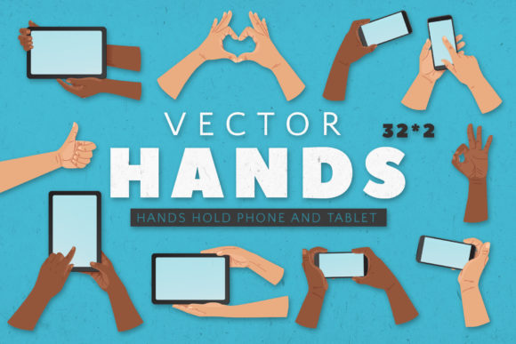 PHONE and TABLET Hands. 2 COLORS Graphic Illustrations By Olga Lots