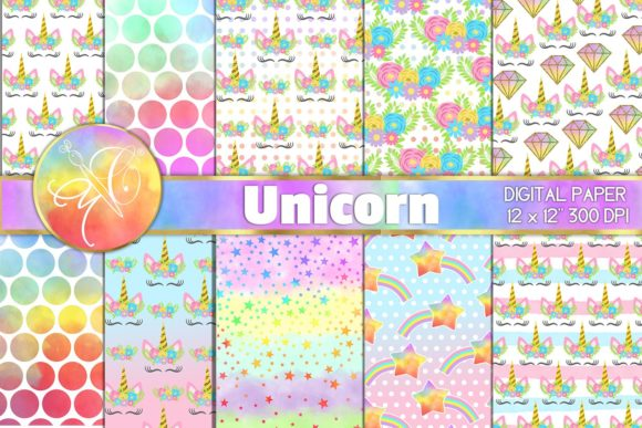 Rainbow Unicorn Digital Paper Graphic Backgrounds By paperart.bymc