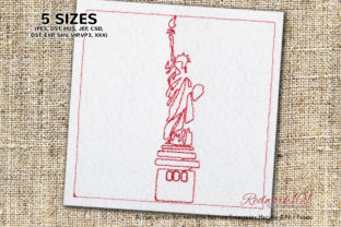 Statue of Liberty, New York Redwork North America Embroidery Design By Redwork101