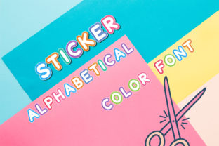 Print on Demand: Sticker Alphabetical Display Font By OWPictures