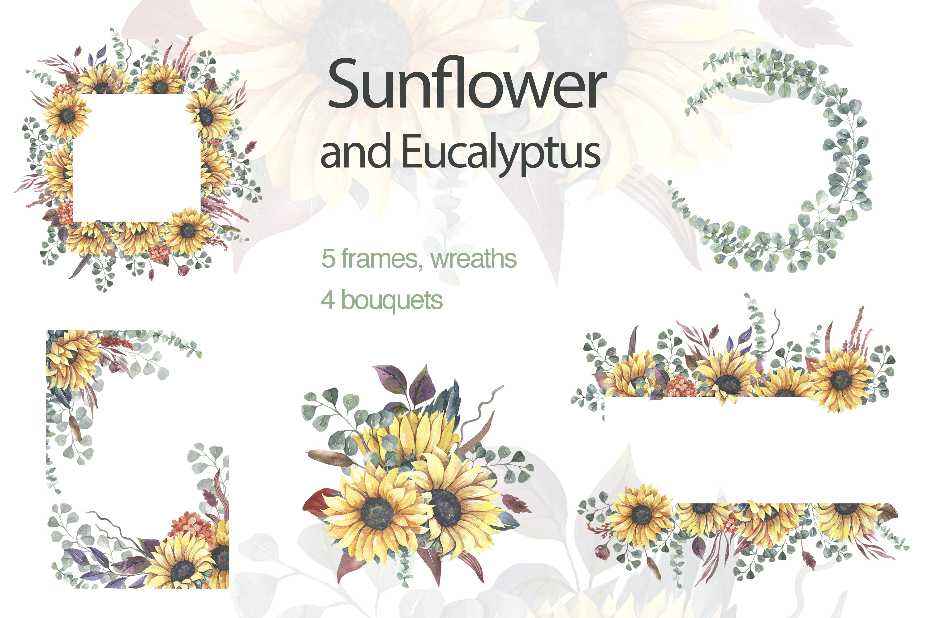 Sunflower Wreaths And Bouquets Graphic By Olesiafrolowa Creative Fabrica