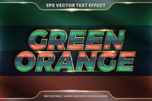 Text Effect in 3D Green Orange Words Graphic Layer Styles By visitindonesia