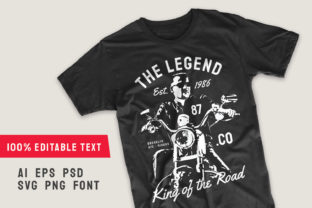Print on Demand: The Legend | Editable Motorcycle T-shirt Graphic Illustrations By Universtock