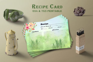 Print on Demand: Watercolor Recipe Card Template V25 Graphic Print Templates By Creative Tacos