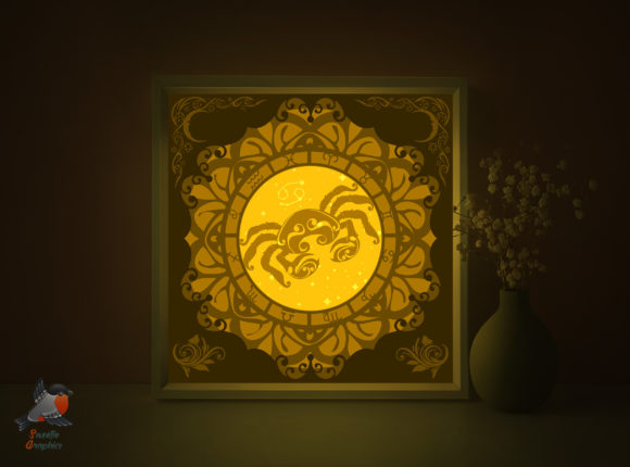Zodiac Sign Cancer Shadow Box Template Graphic 3D Shadow Box By SweetieGraphics