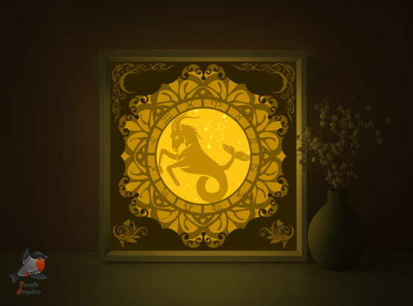 Zodiac Sign Capricorn ShadowBox Template Graphic 3D Shadow Box By SweetieGraphics