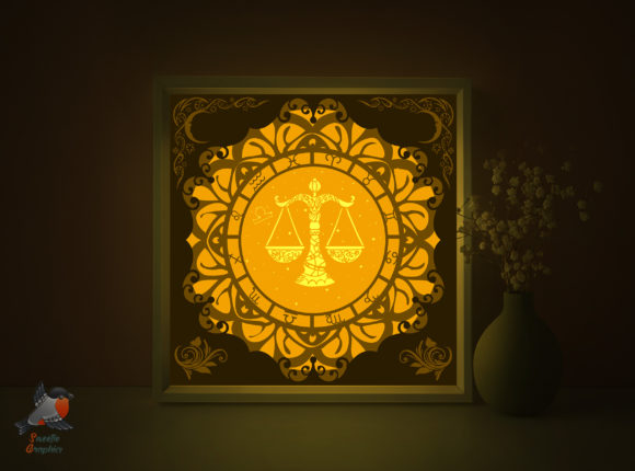 Zodiac Sign Libra Shadow Template Graphic 3D Shadow Box By SweetieGraphics