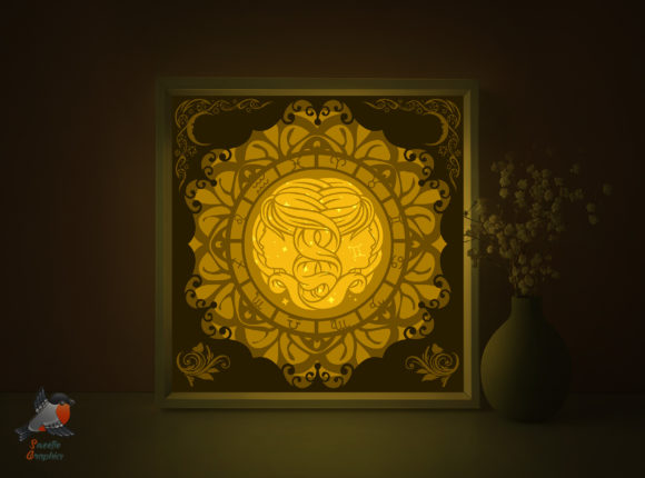 Zodiac Signs Gemini Shadow Box Template Graphic 3D Shadow Box By SweetieGraphics
