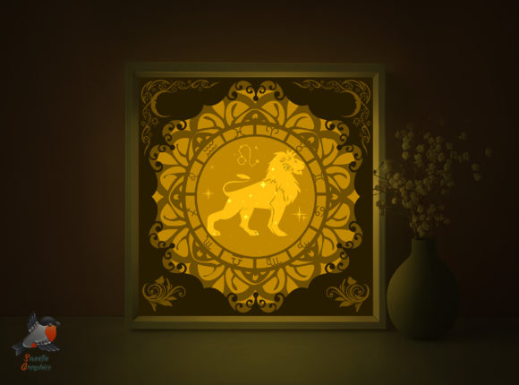 Zodiac Signs Leo Shadow Box Template Graphic 3D Shadow Box By SweetieGraphics