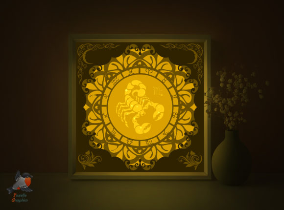 Zodiac Signs Scorpio Shadow Box Template Graphic 3D Shadow Box By SweetieGraphics