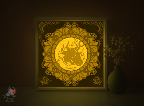 Zodiac Signs Taurus Shadow Box Template Graphic 3D Shadow Box By SweetieGraphics
