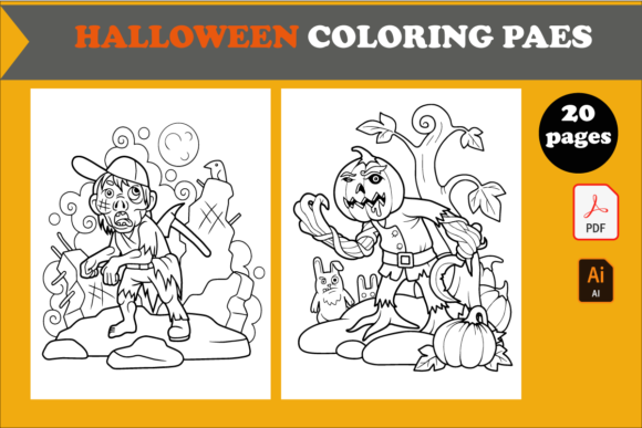 20 Cute Halloween Coloring Pages for KDP Graphic KDP Interiors By KDP_DESIGN