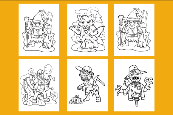 20 Cute Halloween Coloring Pages for KDP Graphic KDP Interiors By KDP_DESIGN - Image 3