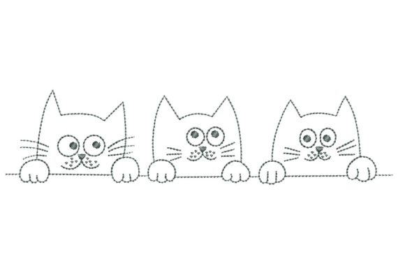 3 Cats Cats Embroidery Design By BabyNucci Embroidery Designs