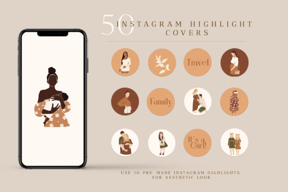 50 Instagram Highlight Blogger Icons Graphic Illustrations By NassyArt