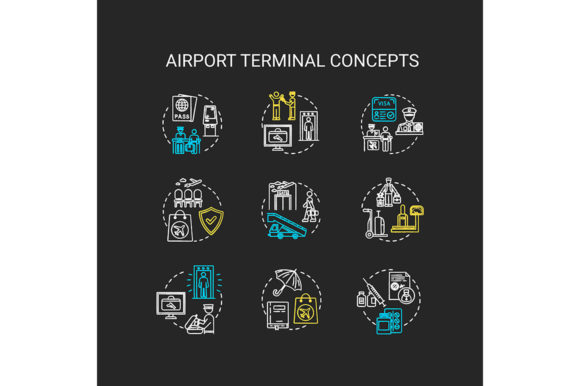 Print on Demand: Airport Terminal Chalk Concept Icons Set Graphic Icons By bsd studio