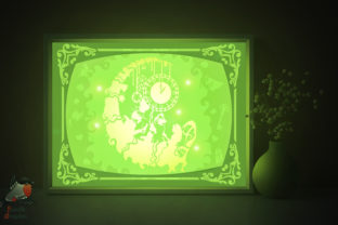 Alice in Wonderland Shadow Box Template Graphic 3D Shadow Box By SweetieGraphics