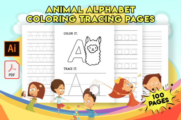 Print on Demand: Alphabet Tracing and Coloring Pages Graphic KDP Interiors By Fox Design Studio