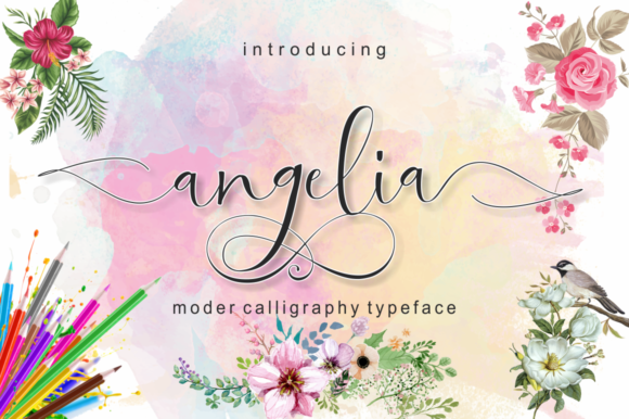 Print on Demand: Angelia Script & Handwritten Font By pujalettering