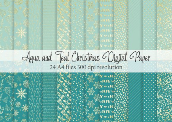Print on Demand: Aqua and Teal Christmas Digital Paper Graphic Patterns By Simply Paper Craft