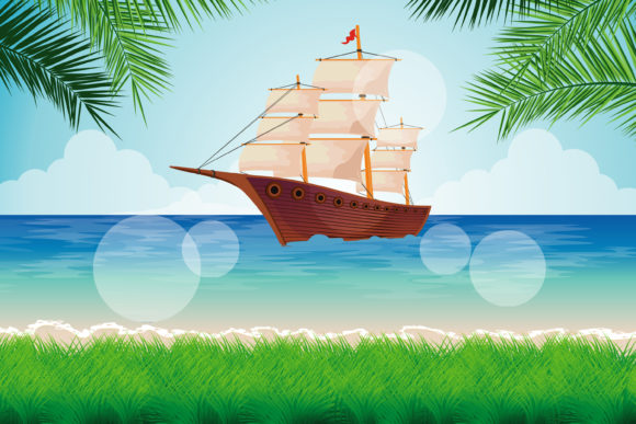 Print on Demand: Beach and Ship Illustration Graphic Illustrations By edywiyonopp
