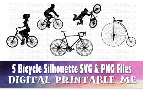 Print on Demand: Bicycle Silhouette Graphic Crafts By DigitalPrintableMe