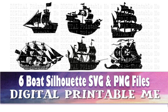 Print on Demand: Silhouette Sail Ship Graphic Illustrations By DigitalPrintableMe
