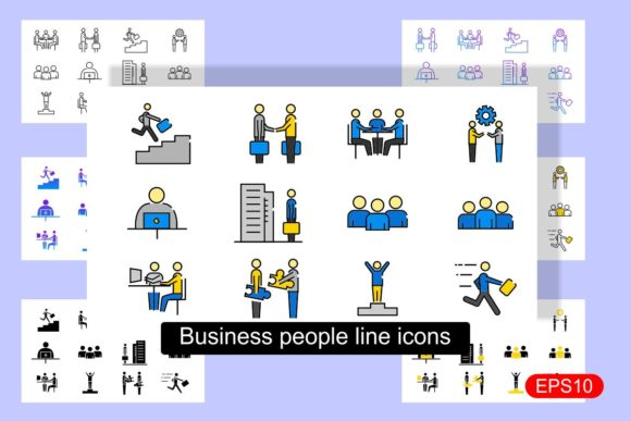 Print on Demand: Business People Line Icons Graphic Icons By Pidco.art