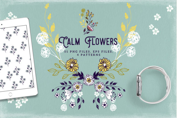 Print on Demand: Calm Flowers - Cliparts and Patterns Graphic Illustrations By webvilla