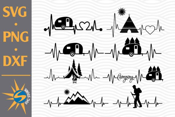 Print on Demand: Camping Heartbeat Graphic Crafts By SVGStoreShop