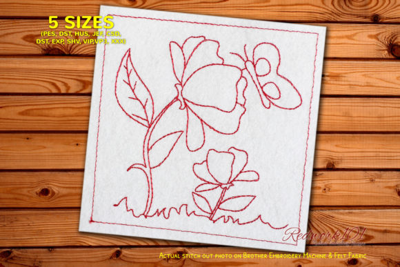 Cartoon Flower with Butterfly Outline Flowers Embroidery Design By Redwork101
