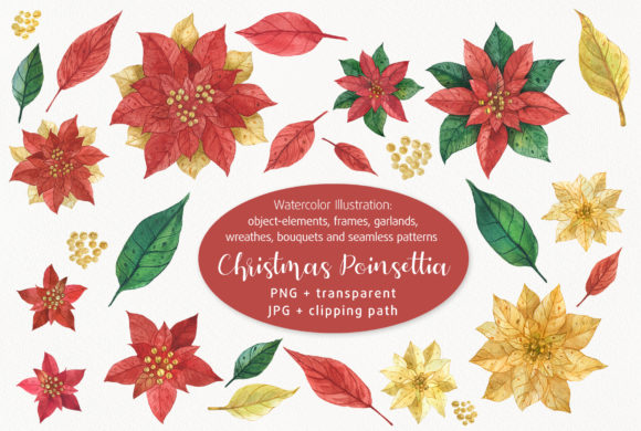 Print on Demand: Christmas Poinsettia Graphic Illustrations By Snowstorm's Box